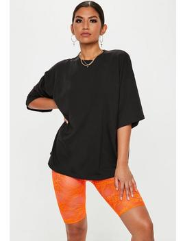 Neon Orange Lace Cycling Shorts by Missguided