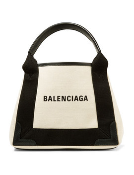 Leather Trimmed Logo Print Canvas Tote by Balenciaga