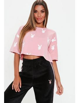Playboy X Missguided Pink Print Cropped T Shirt by Missguided