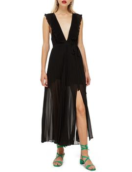 Pleated Plunge Chiffon Maxi Dress by Topshop