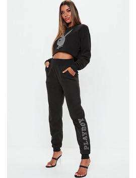 Playboy X Missguided Black Side Logo Joggers by Missguided