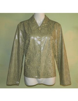 L 16 Snakeskin Print Victoria Moon Vinyl Jacket Wet Look 80s by Etsy
