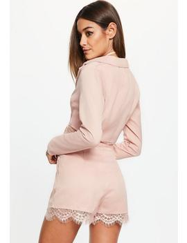 Pink Cropped Lace Hem Blazer Jacket by Missguided