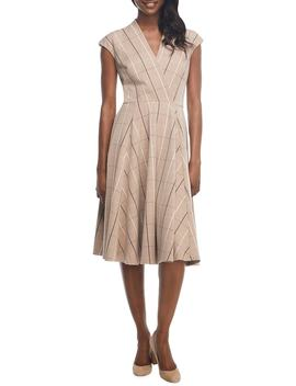 Eva Windowpane Check Faux Wrap Dress by Gal Meets Glam Collection