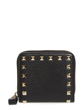 Rockstud Lambskin Leather Zip Around Wallet by Valentino Garavani