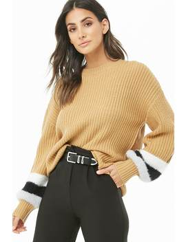 faux-fur-trim-knit-sweater by forever-21