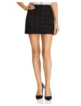 Elana Metallic Plaid Mini Skirt by Alice And Olivia