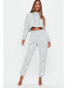 Playboy X Missguided Grey Repeat Print Slim Joggers by Missguided