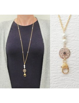 Gold Lanyard, Pearl Lanyard, Gold Necklace Lanyard, Gold Id Badge Holder Pearl, Id Card Necklace, Teacher Lanyard, Fashion Lanyard Women by Etsy