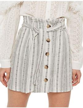 Striped Linen Blend Skirt by Topshop