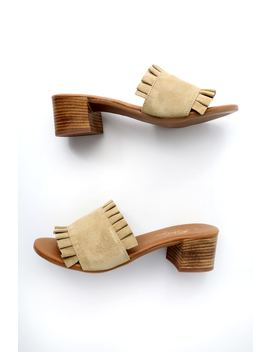 Demi Sand Suede Leather Mules by Rebels