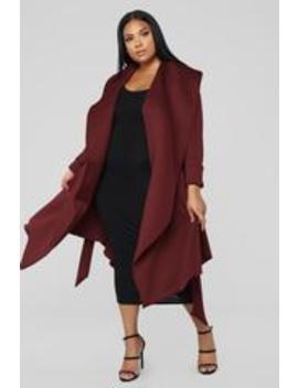 Bossed Up Bow Waist Jacket   Burgundy by Fashion Nova