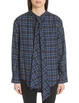 Back Logo Flannel Shirt by Balenciaga