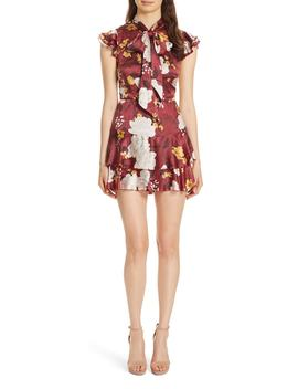 Lashay Tie Neck Silk Minidress by Alice + Olivia