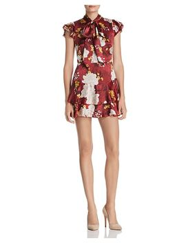 Lashay Tie Neck Ruffled Silk Dress by Alice And Olivia