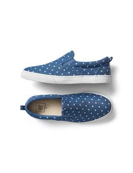 Dotty Chambray Slip On Sneakers by Gap