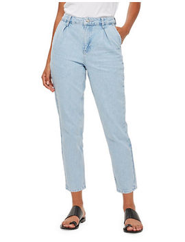 Moto Bleach Pleated Mom Jeans 30 Inch Leg by Topshop