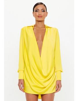 Peace + Love Yellow Satin Cowl Mini Dress by Missguided