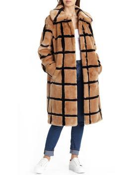 Windowpane Faux Fur Coat by Avec Les Filles