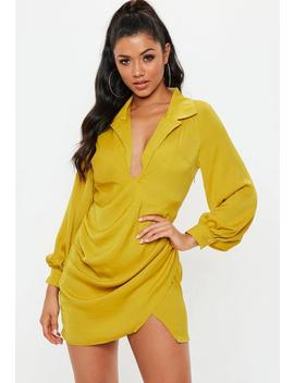 Chartreuse Satin Tie Side Mini Dress by Missguided