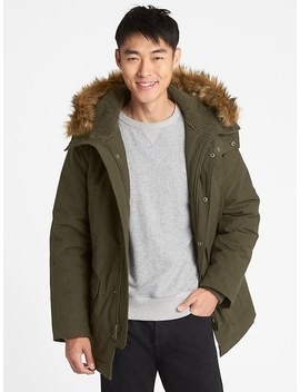 Hooded Parka Jacket With Faux Fur Trim by Gap