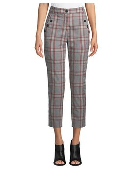 Farrow Button Detail Plaid Pants by Veronica Beard