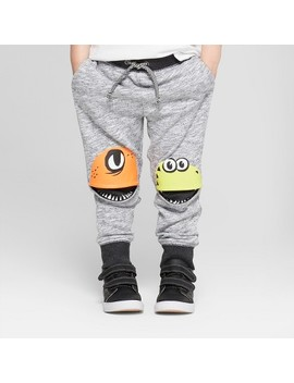 Toddler Boys' Jogger Pants With Monster Knee Hits   Cat & Jack™ Gray by Cat & Jack™