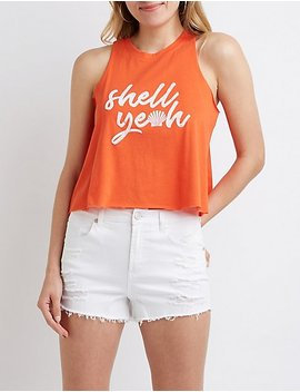 Shell Yeah Graphic Tank Top by Charlotte Russe