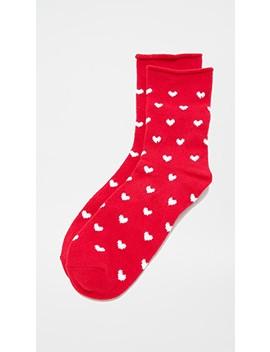 Heart Rolled Fleece Socks by Plush