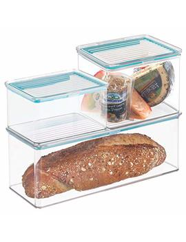 M Design Kitchen Storage Boxes With Hinged Lid For Refrigerator Or Pantry   Set Of 3, Clear by M Design