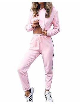 Akery Womens Sports Suit Pullover Hoodie Sweat Pants Set Tracksuit by Akery