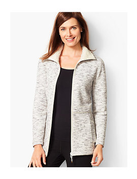 Fleece Trim Quilted Jacquard Jacket by Talbots