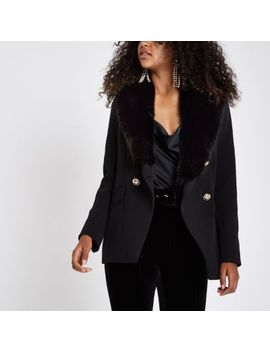 Black Faux Fur Button Tux Style Jacket by River Island