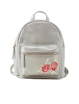 Floral Patch Faux Leather Backpack by Charlotte Russe