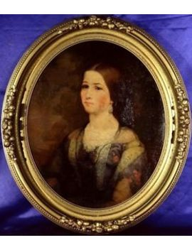 Exquisite Ca.1870 Elegant Young Lady Portrait Oil Painting On Canvas W/Frame by Ebay Seller