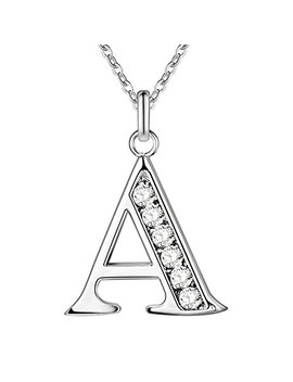 Swopan Initial 26 Letters Alphabet Personalized Monogram Name Charms Pendant Necklace For Women Silver Link Chain Jewelry With Cubic Zirconia A Z by Swopan