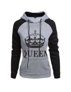 Tinhao Fashion Couple Lover's King Queen Printed Pockets Hoodies Pullover Sport Hooded Couple Sweatshirt by Tinhao