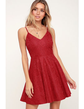 Way With Words Berry Red Lace Skater Dress by Lulus