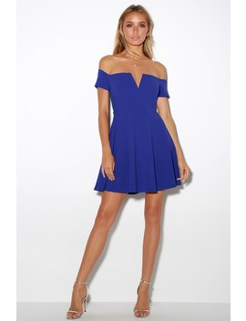Play The Party Cobalt Blue Off The Shoulder Skater Dress by Lulus