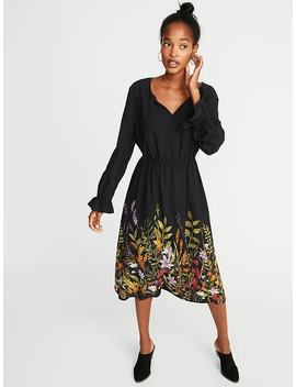 Poet Sleeve Waist Defined Midi For Women by Old Navy