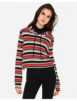 Express One Eleven Striped Abbreviated Popover Hoodie by Express