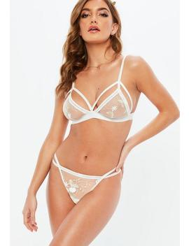 White Bridal Embroidered Triangle Bra by Missguided