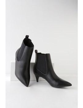 Kittie Black Kitten Heel Pointed Toe Ankle Boots by Lulus