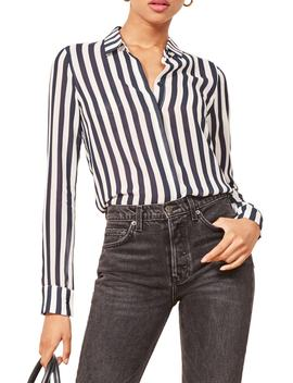 Violet Stripe Blouse by Reformation
