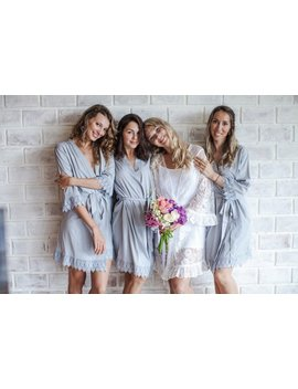 Bridesmaid Robes // Robe // Bridal Robe // Bride Robe // Bridal Party Robes // Bridesmaid Gifts // Satin Robe // Lace Bridal Robe by Etsy