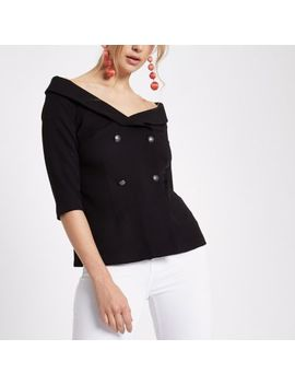 Black Double Breasted Bardot Top by River Island
