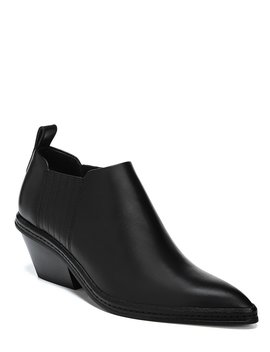 Farly Leather Western Block Heel Booties by Via Spiga