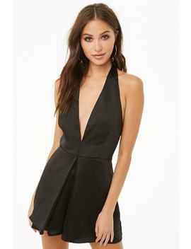 Satin Plunging Halter Romper by Forever 21