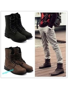 Retro Combat Boots Winter England Style Fashionable Men's Short Shoes 2 Colors by Unbranded
