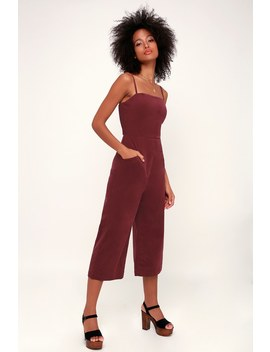 Revere Burgundy Corduroy Cropped Jumpsuit by Lulus